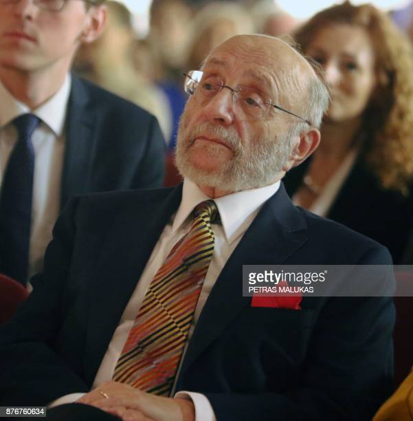 Painter and Holocaust survivor Samuel Bak attends the opening museum of his allegorical work inspired by Jewish history in the Lithuanian capital...