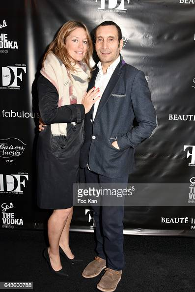 Painter Caroline Faindt and her husband actor Zinedine Soualem attend the FDF Magazine Launch Party at Hotel Christian on February 21 2017 in Paris...