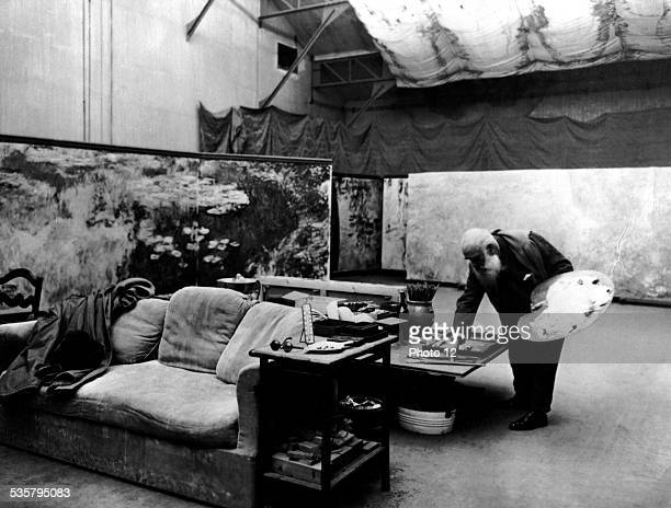 Painter Claude Monet in his studio at Giverny ca 1919 Musée Marmottan