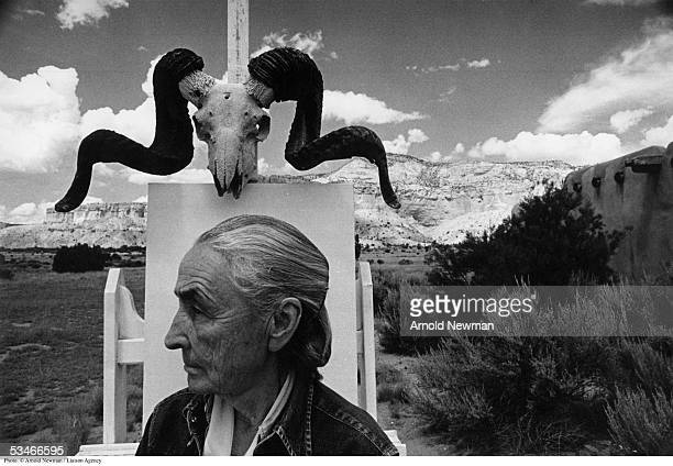 Painter Georgia O'Keeffe poses for portrait August 2 1968 at Ghost Ranch in New Mexico