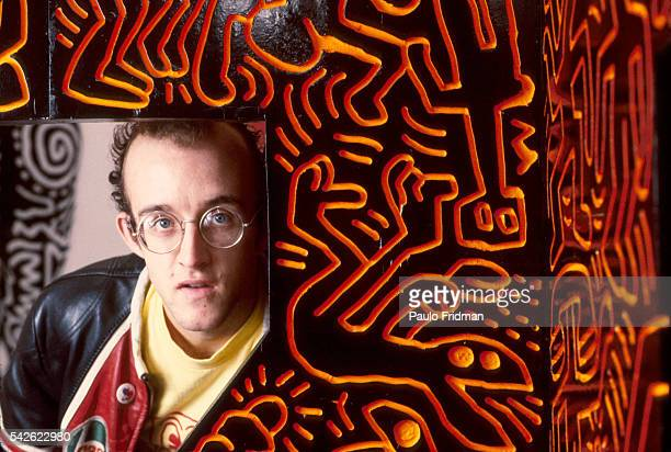 Painter Keith Haring in his studio in New York City