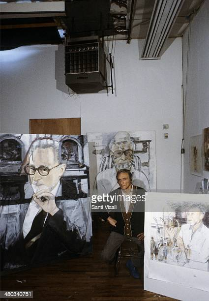 Painter Larry Rivers with portraits of Primo Levi on February 10 1988 in New York New York