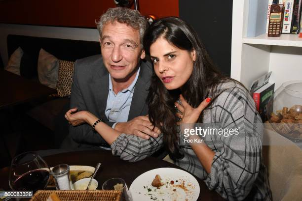 Painter Lee Michel and her husband Olivier Michel attend Olivier Michel Private Dinner Party at Sens Uniques Restaurant on October 10 2017 in Paris...