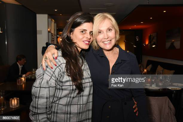 Painter Lee Michel and TV Meteo presenter Fabienne Amiach attend Olivier Michel Private Dinner Party at Sens Uniques Restaurant on October 10 2017 in...