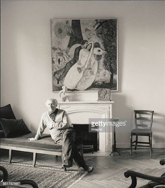 Painter Marc Chagall in his house StPauldeVence 1957 France Photograph by Franz Hubmann