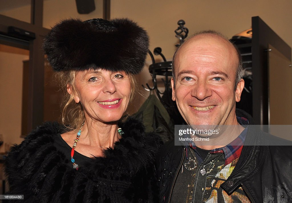 Painter Maria Lahr and Andy Lee Lang attend the 'Peter Rapp Show 50th Anniversary On Stage' press converence at Al Centro Vienna on February 8, 2013 in Vienna, Austria.