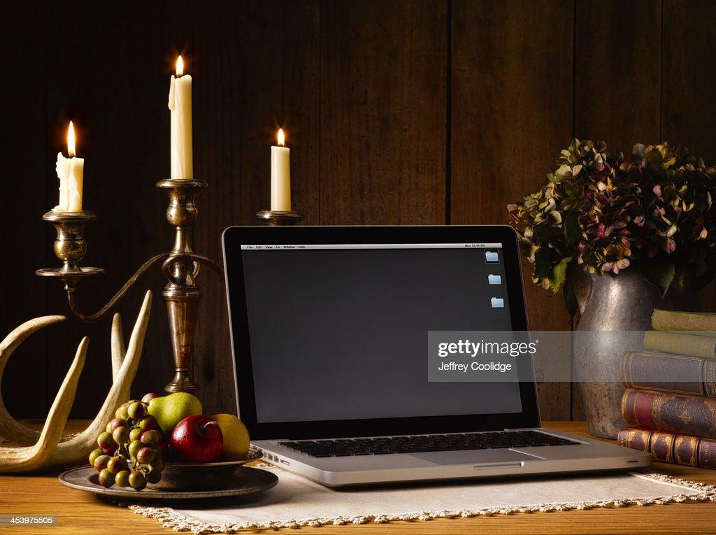 Painterly Still Life Laptop : Stock Photo