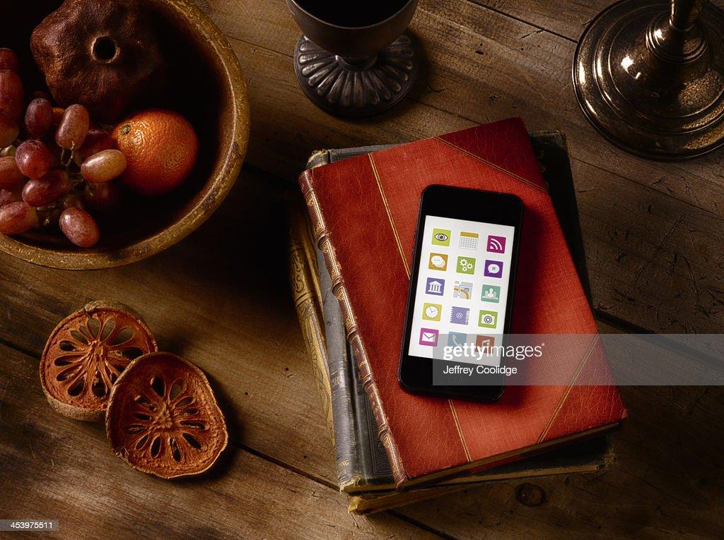 Painterly Still Life Smart Phone : Stock Photo
