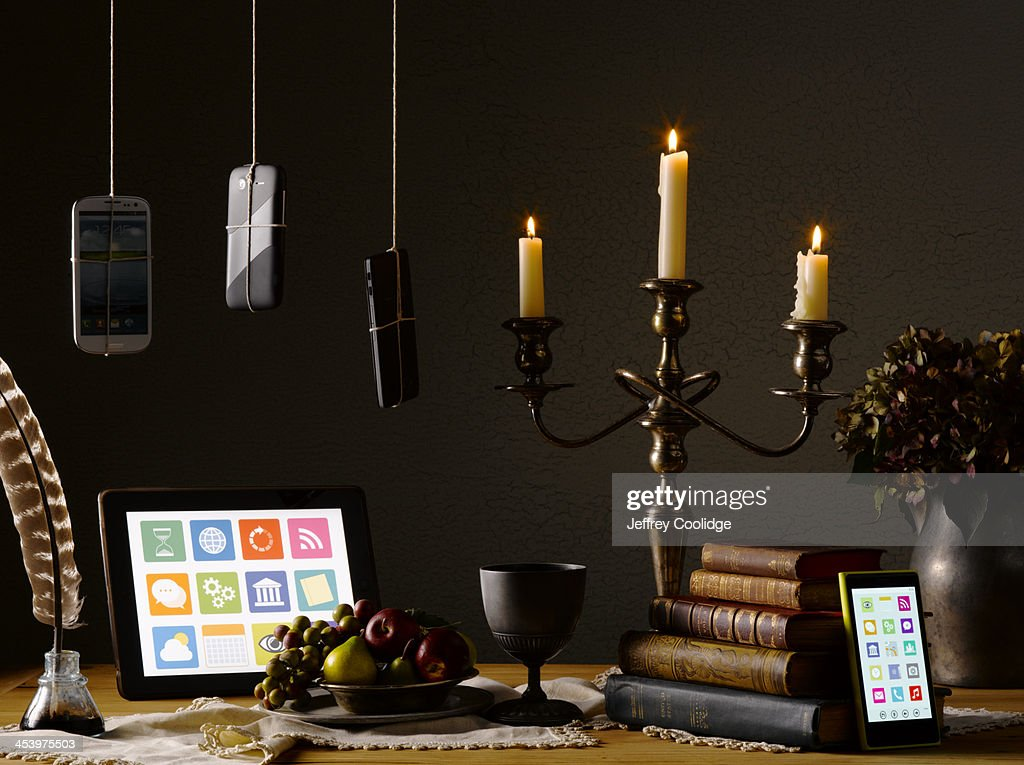 Painterly Still Life  Smart Phone Tablet : Stock Photo