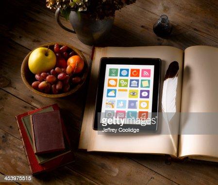Painterly Still Life Tablet Ledger : Stock Photo