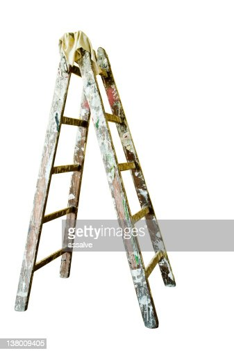 painters ladder isolated on white background