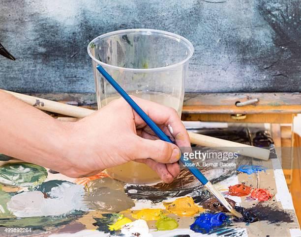 Painter's palette with oil paints
