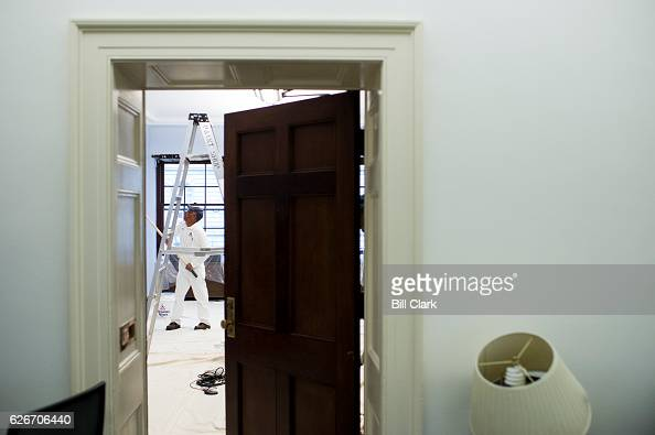 Painters repaint the office of outgoing congresswoman Rep Rene Ellmers RNC in the Longworth House Office Building in preparation for a new tenant on...