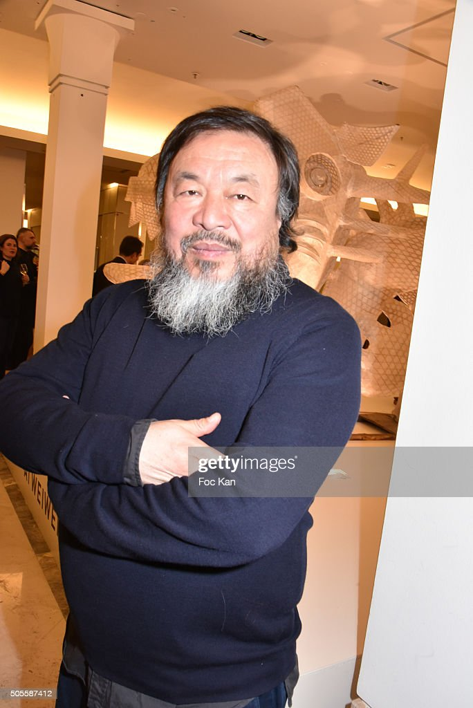 Painter/sculptor <a gi-track='captionPersonalityLinkClicked' href=/galleries/search?phrase=Ai+Weiwei&family=editorial&specificpeople=4331218 ng-click='$event.stopPropagation()'>Ai Weiwei</a> attends the <a gi-track='captionPersonalityLinkClicked' href=/galleries/search?phrase=Ai+Weiwei&family=editorial&specificpeople=4331218 ng-click='$event.stopPropagation()'>Ai Weiwei</a> Exhibition Preview Cocktail at Le Bon Marche on January 18, 2016 in Paris, France.