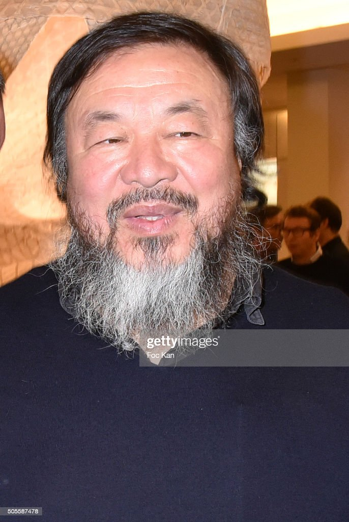 Painter/sculptor Ai Weiwei attends the Ai Weiwei Exhibition Preview Cocktail at Le Bon Marche on January 18, 2016 in Paris, France.