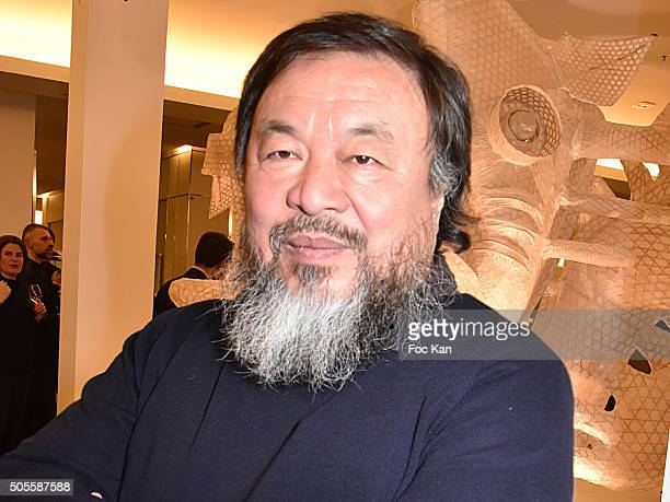 Painter/sculptor Ai Weiwei attends the Ai Weiwei Exhibition Preview Cocktail at Le Bon Marche on January 18 2016 in Paris France