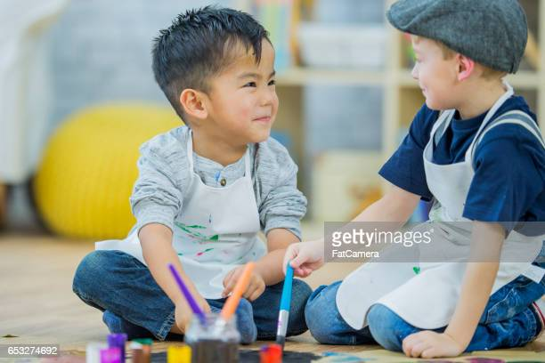 Samen schilderen van een foto
