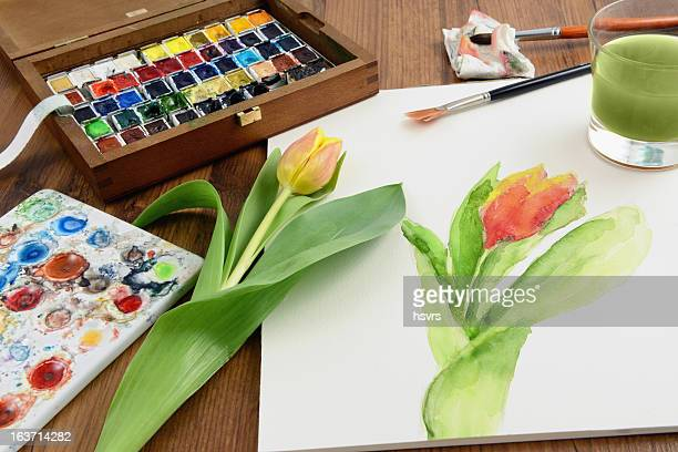 painting a tulip with aquarell paintings