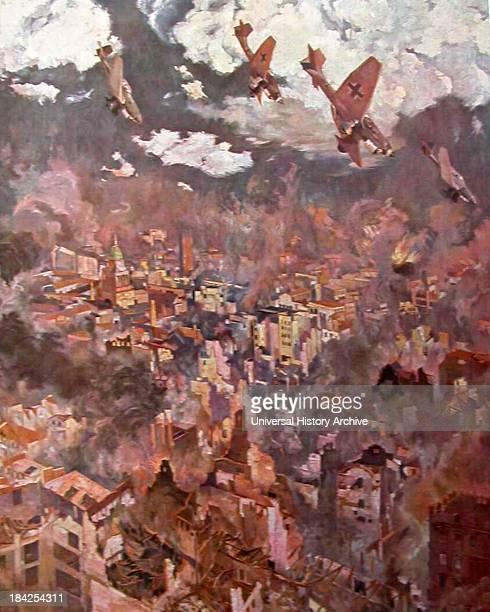 Painting by Georg Lebrecht of Luftwaffe planes bombing an unnamed English city Circa August/September 1941