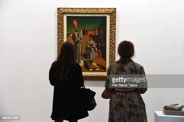 A painting by Giorgio De Chirico is displayed during the Miart Fair 2017 at Fiera Milano City on March 30 2017 in Milan Italy