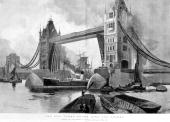 Painting by H C Seppings Wright reproduced in the Illustrated London News The image shows a view of the newly constructed Tower Bridge in London...