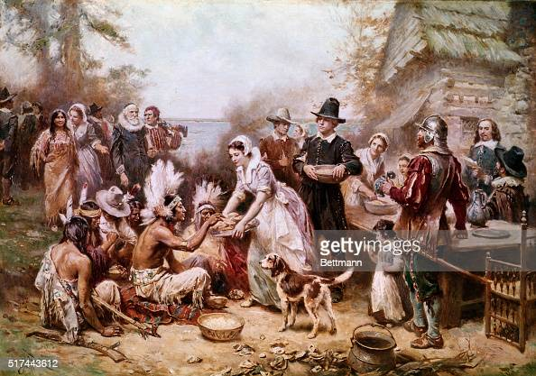 Painting by JLM Ferris of the first Thanksgiving ceremony with Native Americans and the Pilgrims in 1621 Undated illustration
