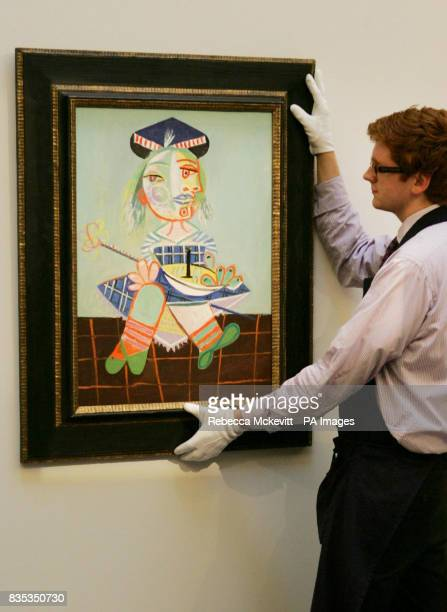 A painting by Pablo Picasso of his daughter Maya aged two and a half at Sotheby's in London