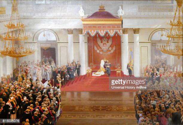 Painting by the Russian artist V Polyakov showing the speech from the throne by Emperor Nicholas II on the occasion of the opening of the First State...