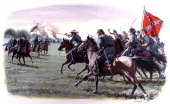 A painting depicting a cavalry charge by Union and Confederate forces during the American Civil War on July 1 1863 in Gettysburg Pennsylvania