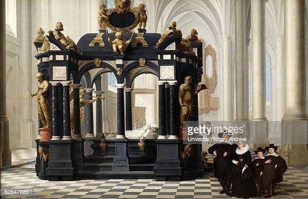 Painting depicting a family beside the Tomb of Prince William I in the Nieuwe Kerk Delft Painted by Dirck van Delen Dated 17th Century