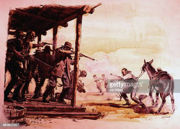A painting depicting a lone cowboy in a gunfight with six men on the porch of a Saloon in the Old West circa 1880