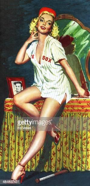 A painting depicting a Pin Up Girl wearing a Chicago White Sox baseball shirt circa 1950