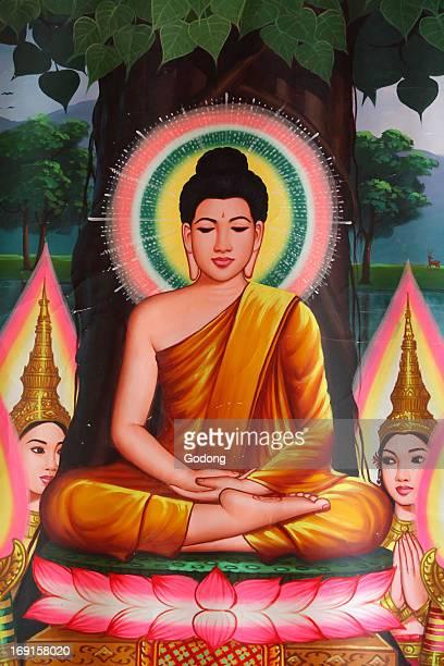 Painting depicting Buddha meditating