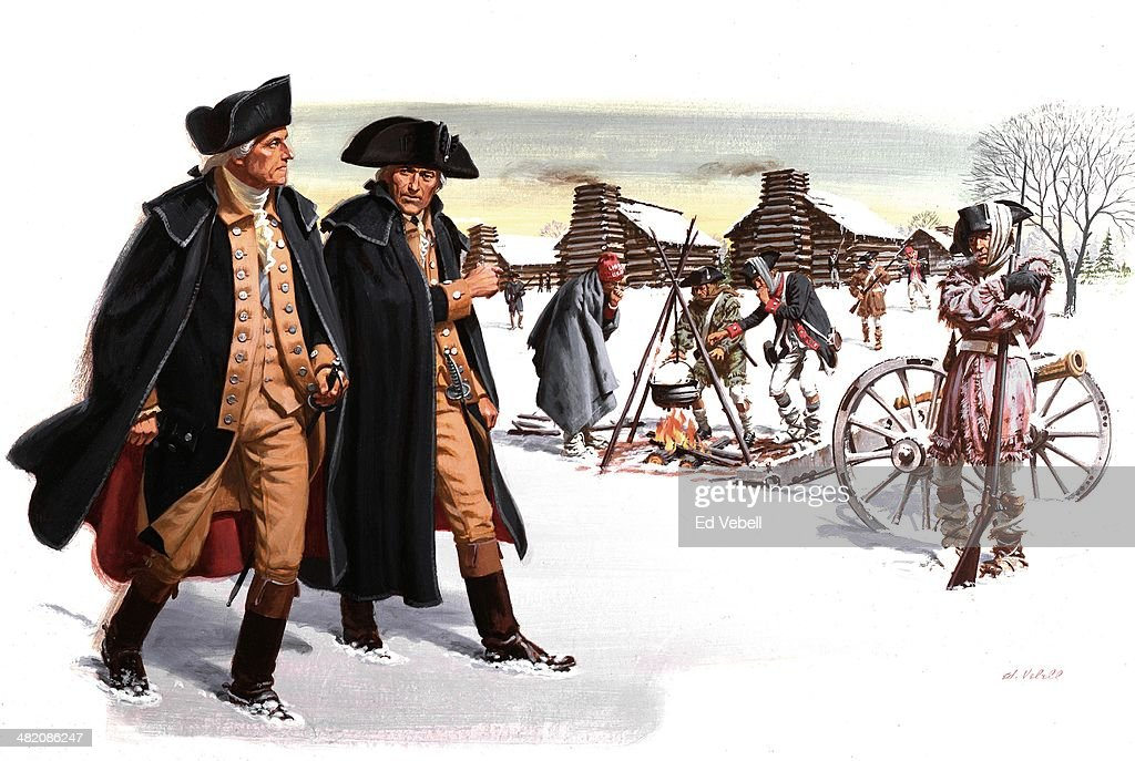 A painting depicting General <a gi-track='captionPersonalityLinkClicked' href=/galleries/search?phrase=George+Washington&family=editorial&specificpeople=67214 ng-click='$event.stopPropagation()'>George Washington</a> inspecting the condition of his troops in January 1778 in Valley Forge, Pennsylvania and New Jersey.