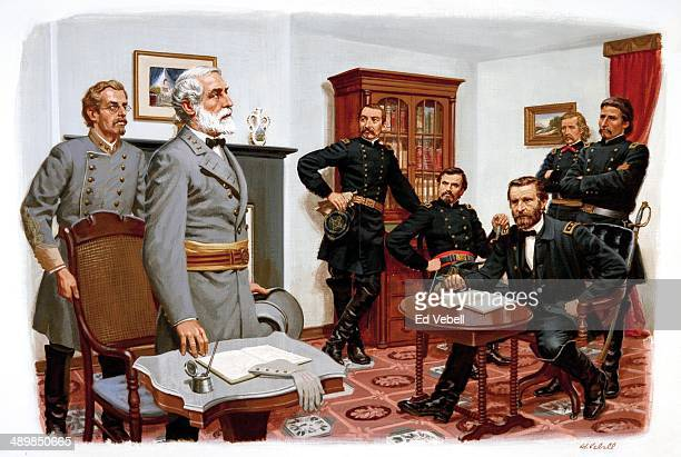 A painting depicting General Robert E Lee surrendering his Army of Northern Virginia to Union Army General Ulysses S Grant in the parlour of the...