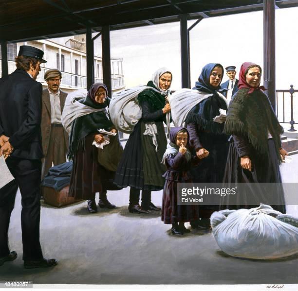 A painting depicting immigrants arriving at Ellis Island circa 1900