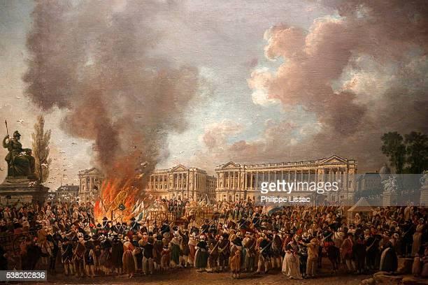 Painting depicting : La fête de l'Unité sur la place de la Révolution, le 10 août 1793. By Pierre-Antoine Démachy (1723-1807). Carnavalet Museum in Paris.
