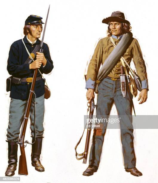 A painting depicting military uniforms worn and weapons used by Union Army and Confederate soldiers during the US Civil War circa 1860