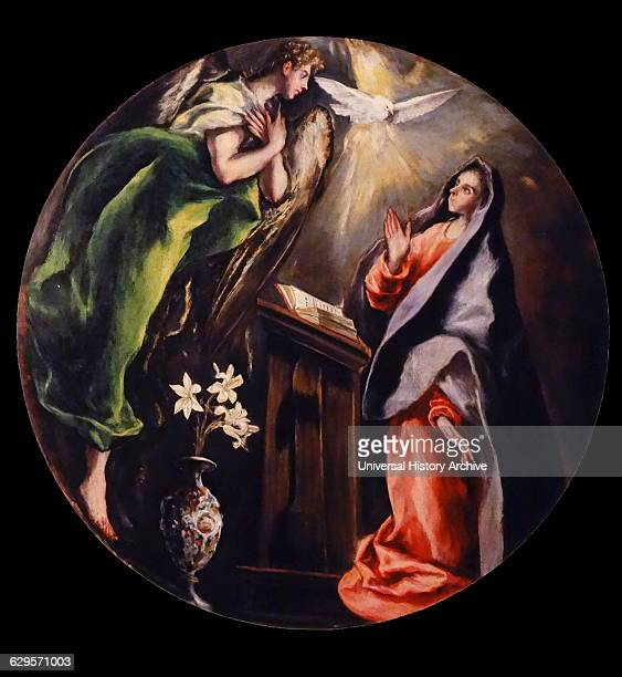 Painting depicting the 'Annunciation' the Christian celebration of the announcement by the angel Gabriel to the Virgin Mary that she would conceive...