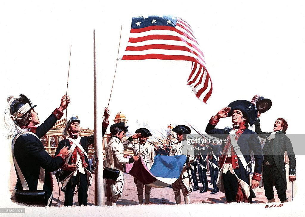 A painting depicting the ceremonial transfer of power from France to The United States of America as part of the Louisiana Purchase on March 10 1804...