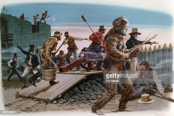 A painting depicting the final hours of the Battle of the Alamo with former congressman and frontiersman Davey Crocket in the foreground on March 6...