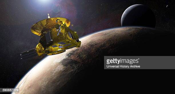 Painting depicting the new horizons space probe as it approaches Pluto Dated 2015