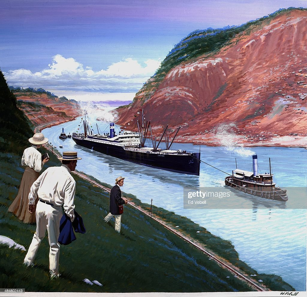 A painting depicting the SS Ancon the first ship to pass through the Panama Canal on the opening day on August 151914 in the Canal Zone Panama