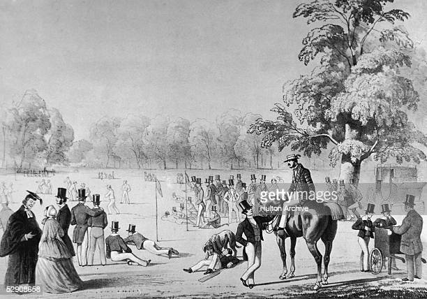 A painting entitled 'Cricket Match' depicting the spectators at an annual Eton vs Harrow fixture mid 19th century