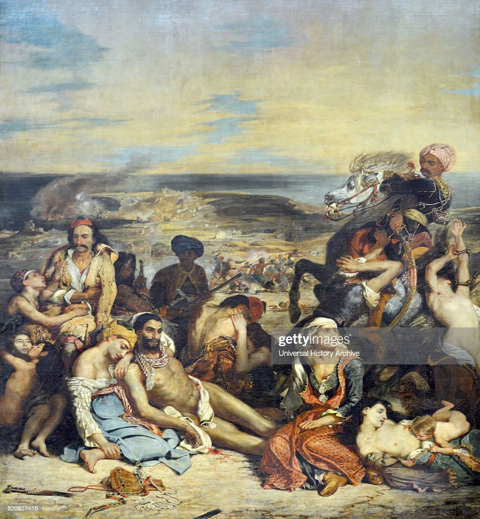 Painting entitled 'Scene of the Massacre at Chios' by Ferdinand Eugene Victor Delacroix (1798-1863). Dated 18th century.