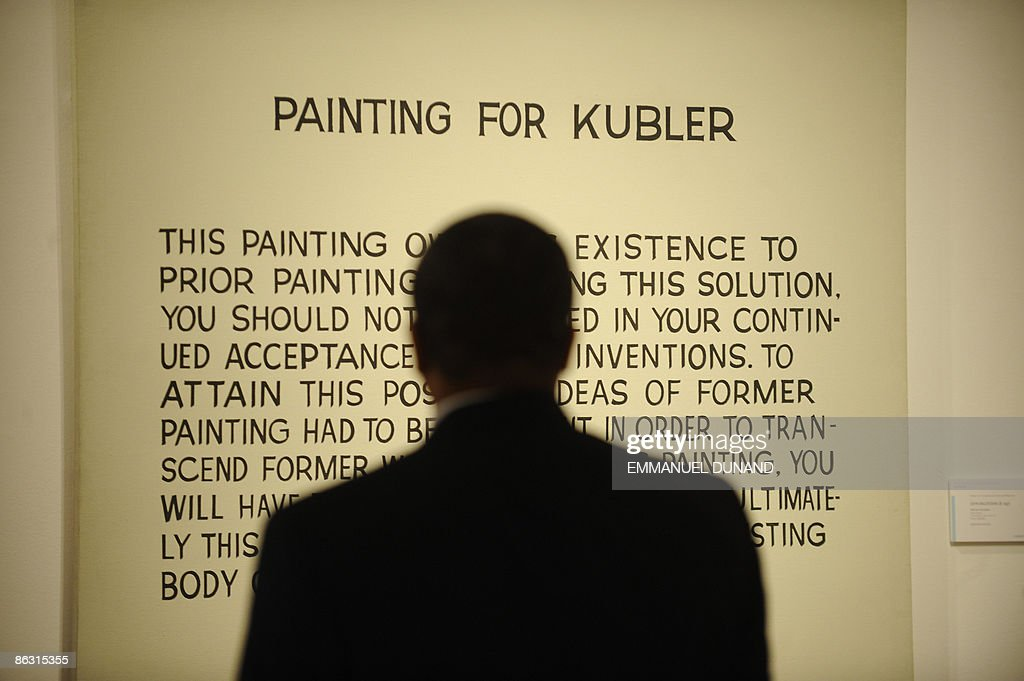 'Painting for Kluber' by artist John Baldessari is on displays at Christie's during a press preview of their Post War and Contemporary Art Evening Sales in New York on May 01, 2009. The painting will go under the hammer with an estimate of 1.5-2 million USD on May 13. AFP PHOTO/Emmanuel Dunand