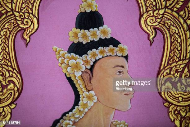 A painting for the cremation ceremony of King Bhumibol Adulyadej sits at the Bangkok National Museum in Bangkok Thailand on Friday Sept 8 2017 The...