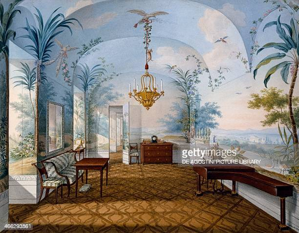 painting hall Schoenbrunn Palace known as Marian Hall watercolour by Franz Xaver Nachtmann