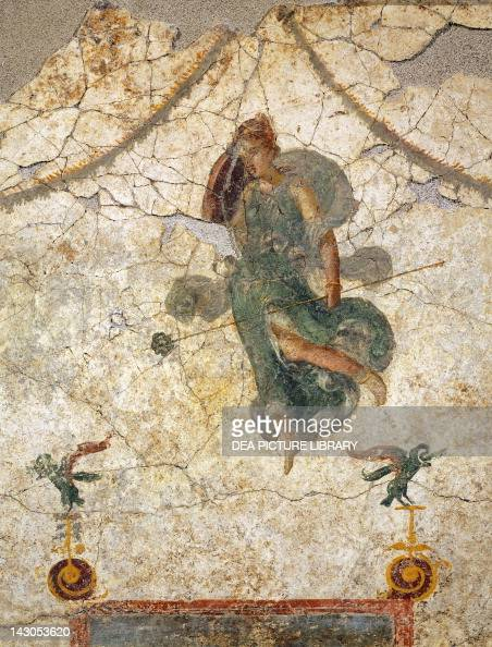Painting in the Fourth Pompeian style depicting a Maenad holding a thyrsus 100 cm x 113 cm Roman Civilization 1st Century Murecine Magazzino...