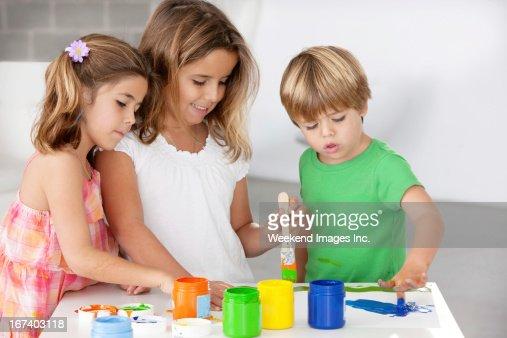 Gemälde Kinder : Stock-Foto